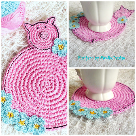 Pink Pig Coaster Crochet Pattern for Beginners