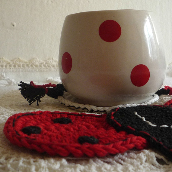Crochet Personalized Ladybug Coaster - MonikaCrochet