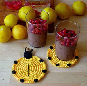 Crochet Ladybug Coasters - Country Kitchen Table Decor - MonikaCrochet