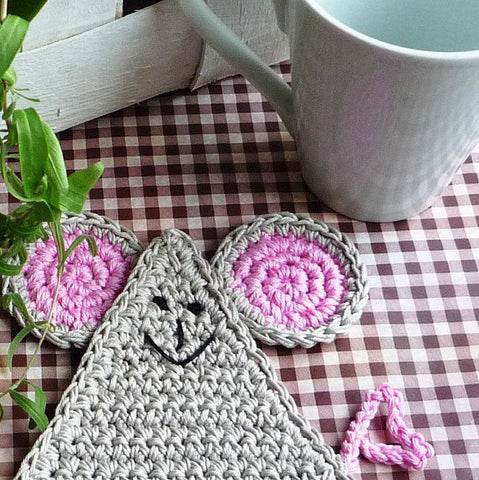 Gray Mouse Crochet Coasters - Mouse Animal Decor