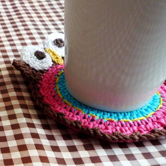 Owl Double Faced Crochet Coaster as a perfect gift for a new teacher