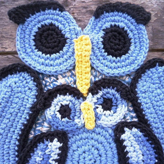 Blue Owl Crochet Hot Pad