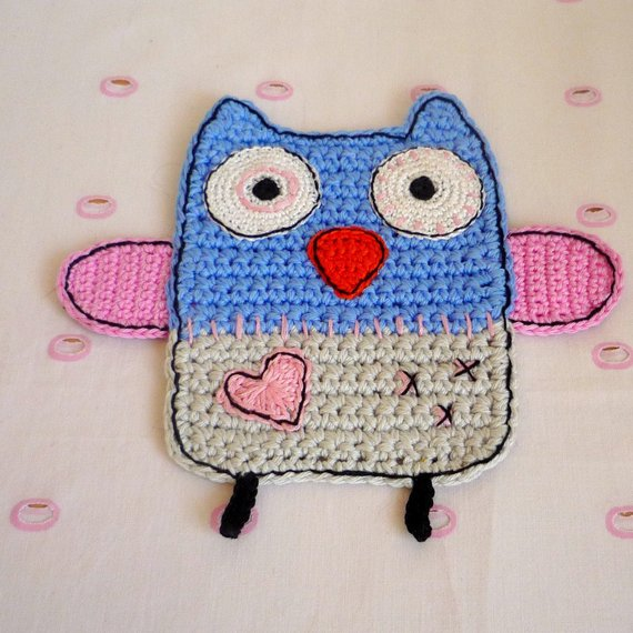 Blue Owl Crochet  Coaster - Owl Kitchen Decor