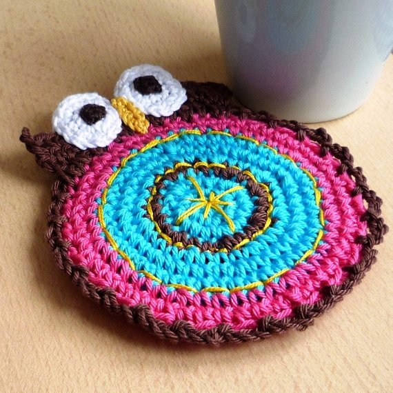 Double Faced Owl Coaster Crochet Pattern