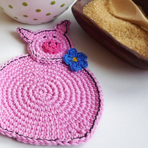 Pink Pig Crochet Coasters