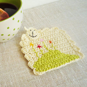 Sheep Crochet Coasters - Sheep Kitchen Decor - Monika Crochet