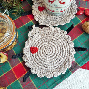 sheep coasters with heart