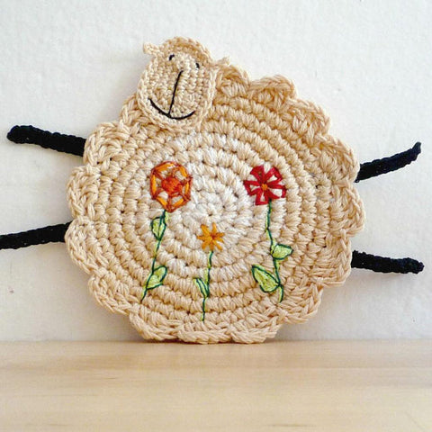 Sheep Crochet Coasters - Sheep Home Decor - Monika Crochet