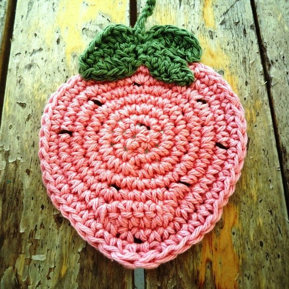 Strawberry Coaster Crochet Pattern for Beginners