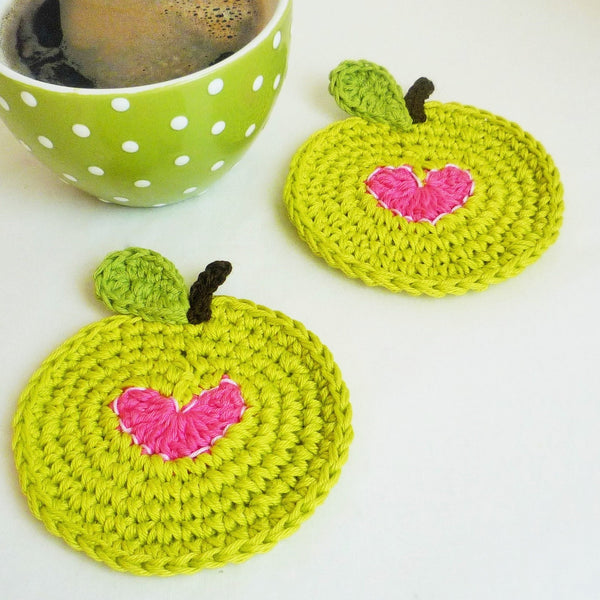 Green Apple Coasters with a Small Pink Heart