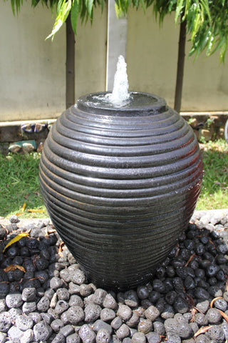 Ribbed Jar Water Feature sapphire glaze