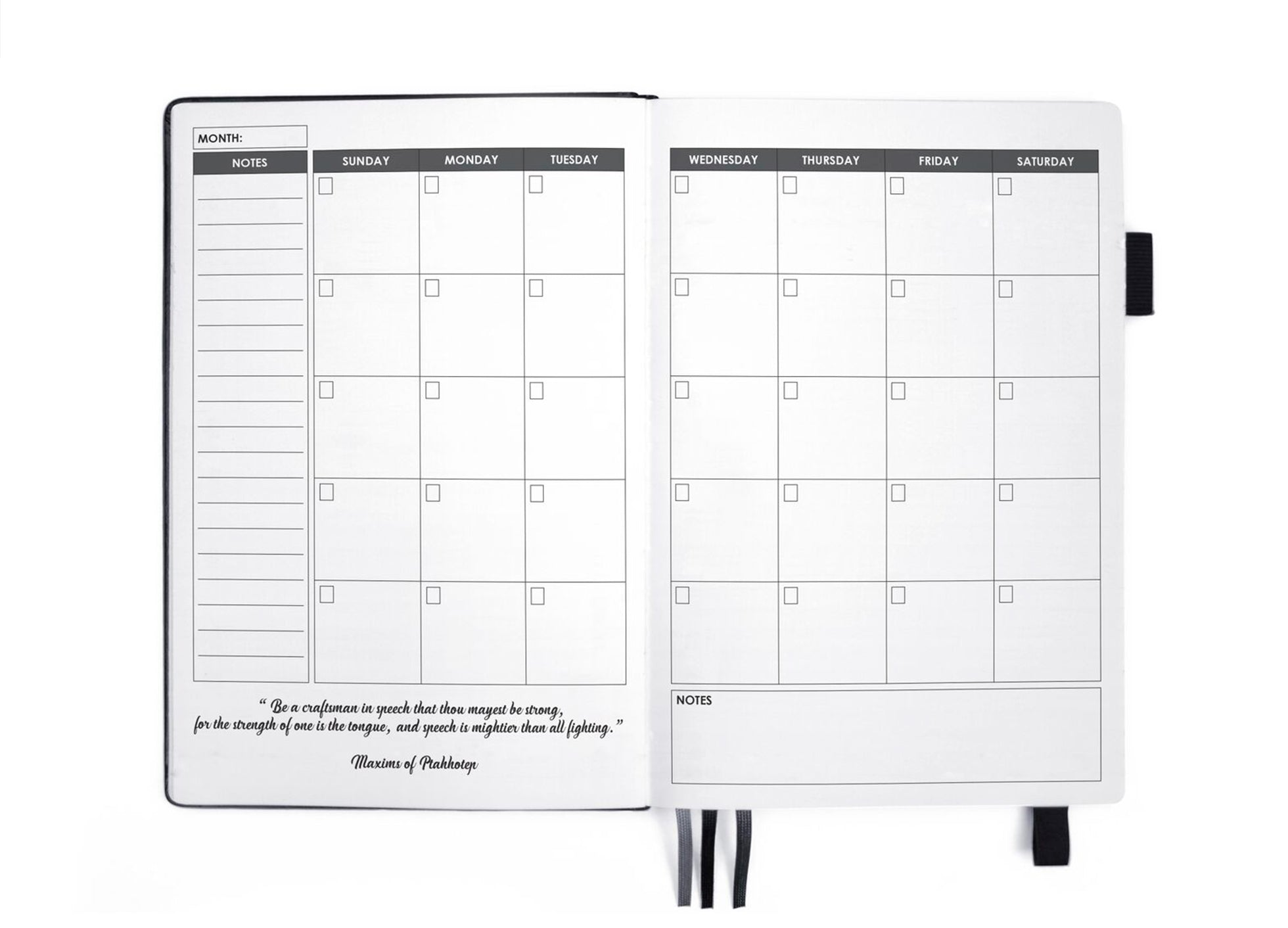 undated weekly planner