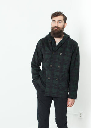 Double Breasted Hoodie in Forest Plaid