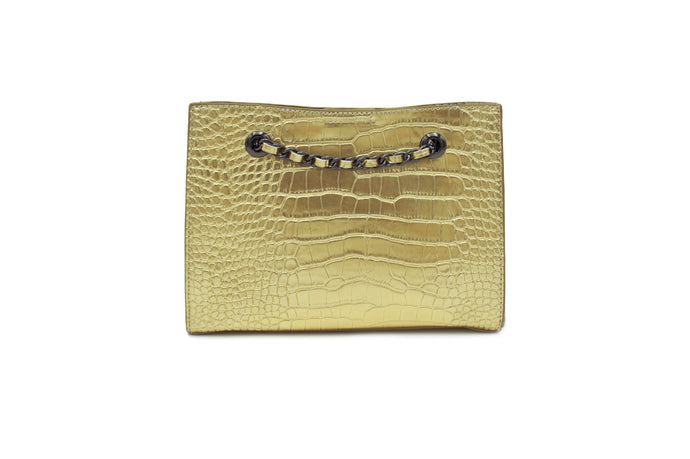 FRANCESCA CROC CLUTCH GOLD