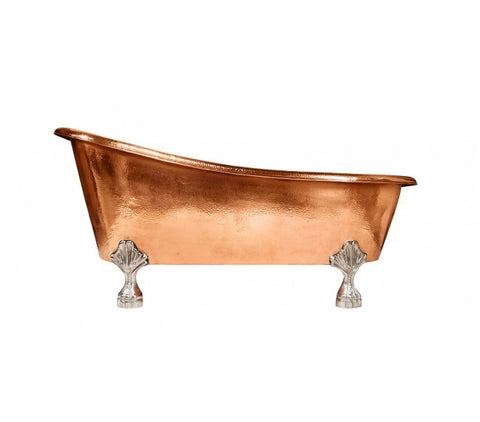 "The Home Copper Bath Tub Med Antique With Feet 67""X31"""