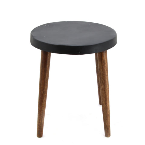 The Home Stool With Iron Top Black Big