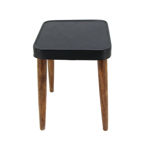 The Home Stool With Iron Top Black Square A