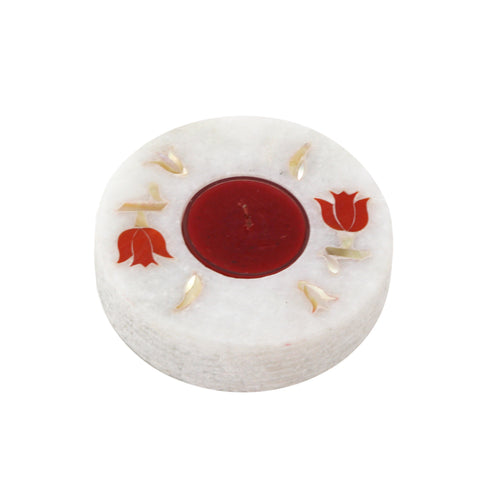 The Home T-Light Holder Marble Hand Painted Round Flat Red Inlay TLH-106