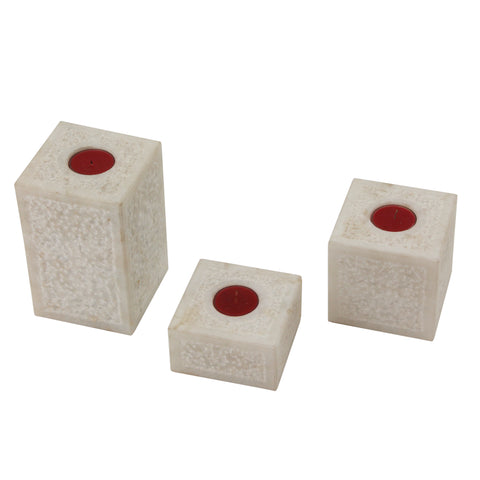 The Home T-Light Holder Square Marble Set Of 3 MTL-103