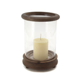 The Home Wooden & Plain Glass Candle Stand Set Of 3