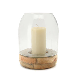 The Home Glass Wooden Candle Stand With Wooden Base Large-VI-8051