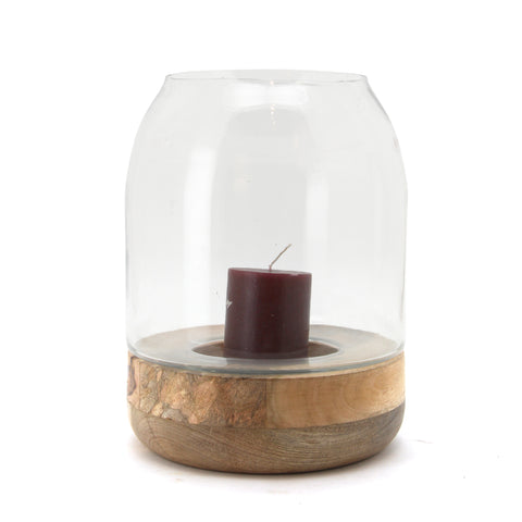 The Home Glass Wooden Candle Stand With Wooden Base Medium-VI-8052