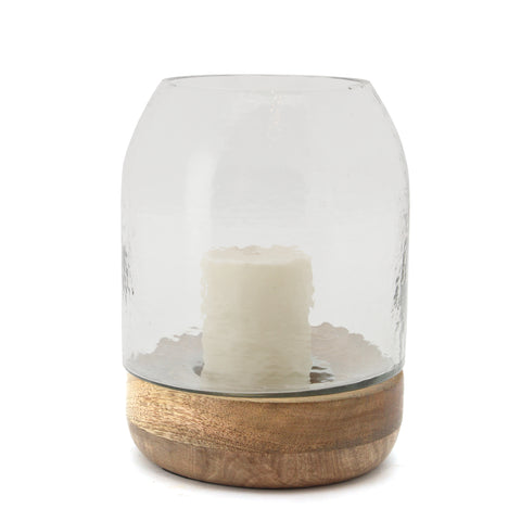The Home Glass Wooden Candle Stand With Wooden Base Small-VI-8053