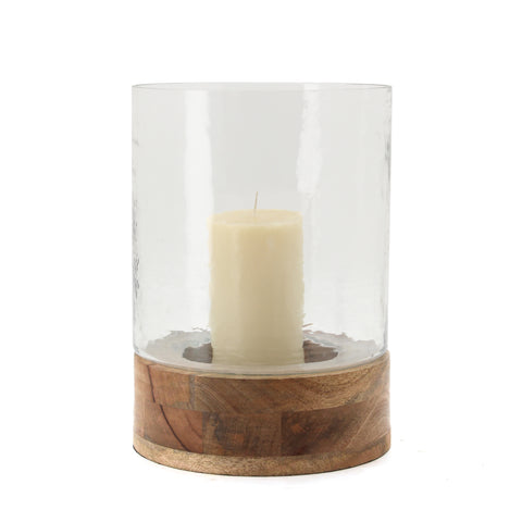The Home Glass Wooden Candle Stand With Wooden Base-VI-8070