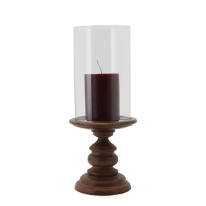 The Home Wooden Pillar Holder With Glass-VI-8777