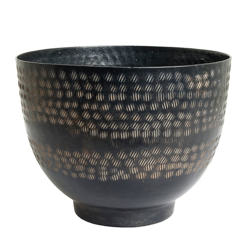 The home Bowl Hammered Planter Black PC1250-A