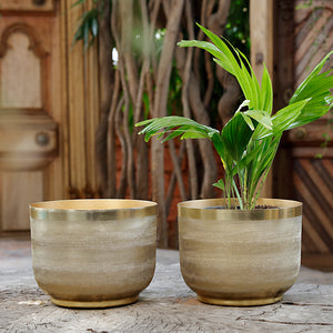 The home Bowl Planter Ridged Gold GD1304-C