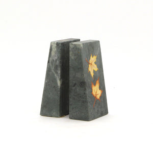 The Home Natural Stone Book End Set W/T Maple Leaf Painted