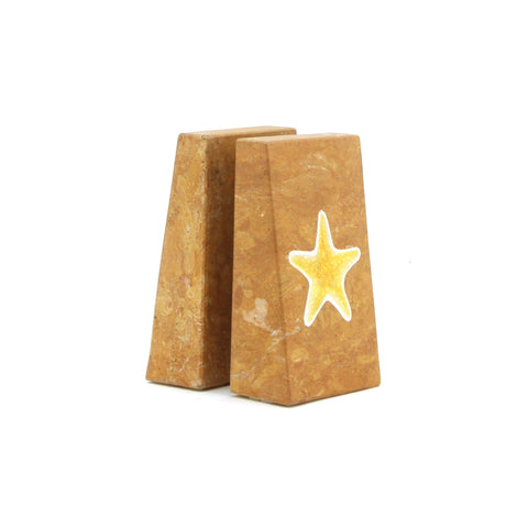 The Home Natural Stone Book End Set W/T Star Fish Painted