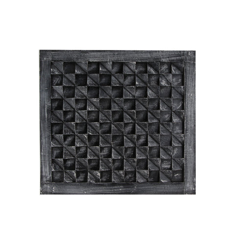 The Home Wall Square Panel 3D Triangle Grey Black
