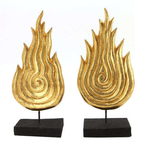 The Home Gilded Wood Fire Gold Set Of 2