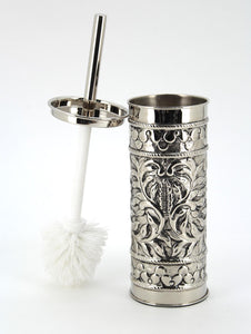The Home Brass Embossed Toilet Brush Holder