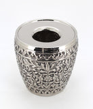 The Home Brass Embossed Waste Basket W/LID