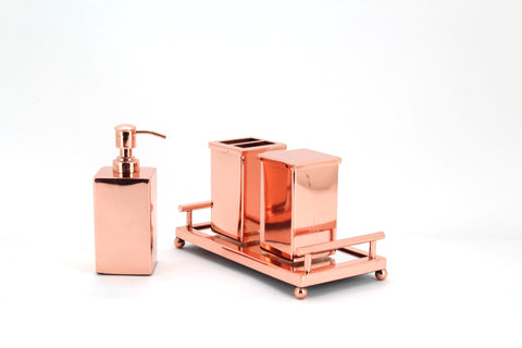 The Home Stainless Steel Bath Set of 4 PCS Copper Color