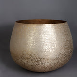 The Home Small Round Planter Textured Gold GD1418-B
