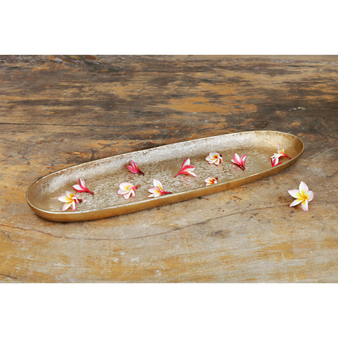 The home Tray Planter Hammered Brush Gold Big BG1464-A