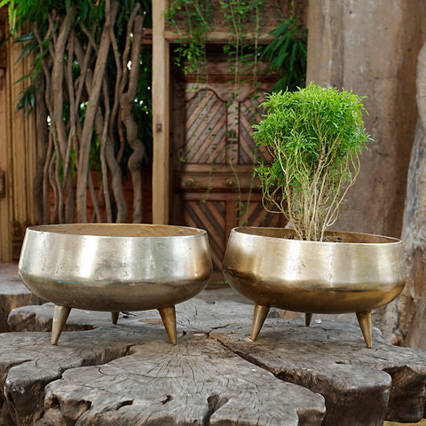 The Home Pot Planter with Legs Gold GD1639-A