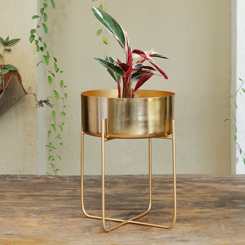 The Home Pot with Stand Planter Gold 1503-B