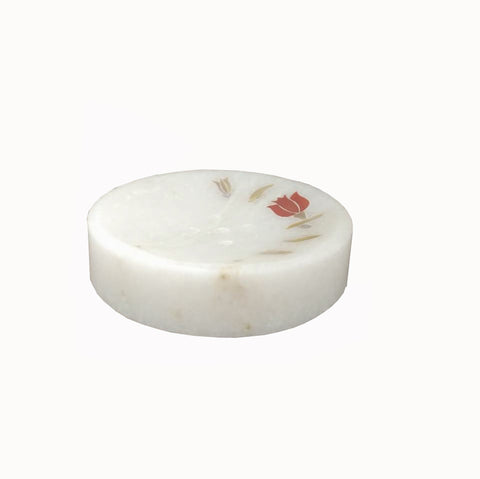 The Home Marble Soap Dish Red Inlay