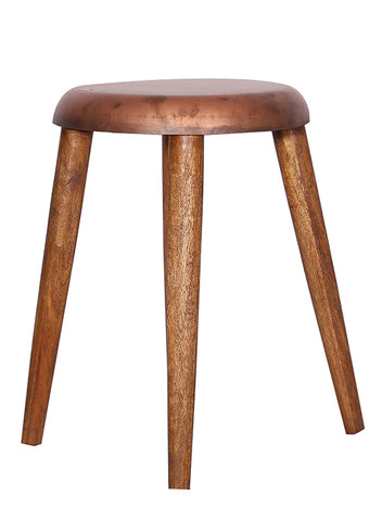 The Home Stool With Iron Top Small Copper