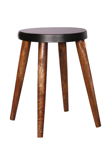 The Home Stool With Iron Top Black Small
