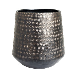 The home Barrel Planter Hammered Small Black 1512-B