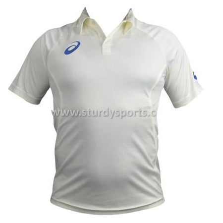 Asics Short Sleeve Cream Shirt (Mens)-Cricket Shirts-ASICS-Small-Cream-Sturdy Sports