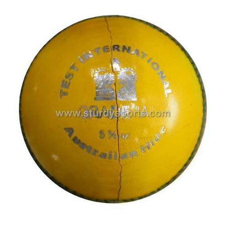 Sturdy Australian Leather Yellow Colored - 4 Piece Ball (Senior)-4 Piece Leather Balls-Sturdy-Sturdy Sports
