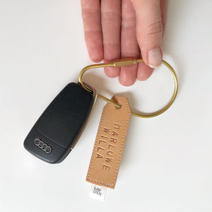Brass & Personalised Leather Keyring