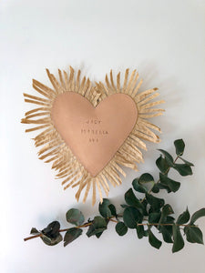 Leather Raffia Personalised Heart